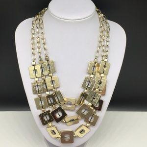 Chico's Gold Tone Square Chain Layered Necklace